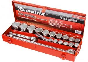 "Set chei tubulare profesionale, 6 laturi, 20 piese, 3/4"", dimensiuni 19-50, trusa metalica MTX Profesional"