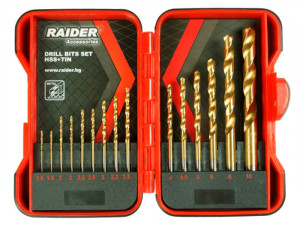 Set burghie titan, HSS TIN Ø1.5-10mm 15 piese, Raider Power Tools