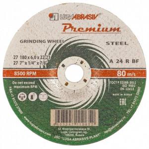 Disc pentru slefuire metal, 180 x 6,0 x 22,23 mm PREMIUM (LUGA)// Rusia