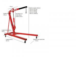 Macara hidraulica pentru scos motoare 1000 kg x 2.3 m, Raider Power Tools