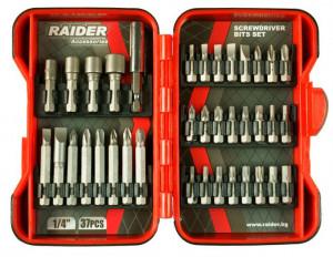 Set biti si adaptoare pt. surubelnita 37 piese, Raider Power Tools
