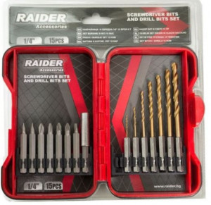 Set burghie si biti, 15 piese, Raider Power Tools