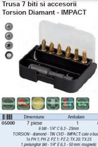 Trusa 7 biti si accesorii Torsion Diamant - IMPACT