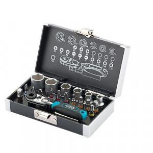 "Set biti si capete tubulare, 1/4"", adaptor magnetic, 26 piese, cutie din plastic, Gross"