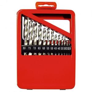 Set burghie pentru metal, 2-8 mm (din 0,5 in 0,5 mm). 13 buc., coada cilindr., cutie de metal MTX Profesional
