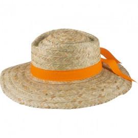 Palarie de paie pentru femei, panglica portocalie, marimea 57, Stocker