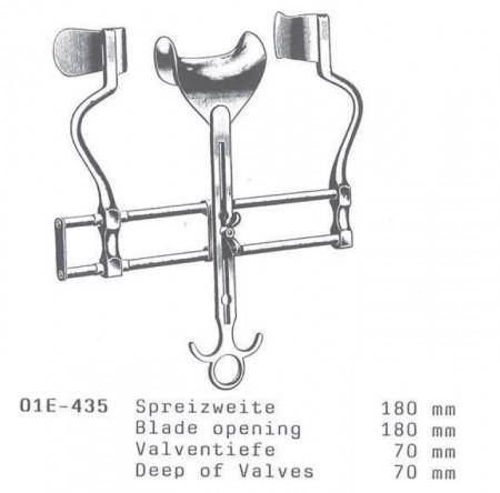 Departator abdominal BALFOUR 70x180 mm cu valva centrala si valve laterale masive