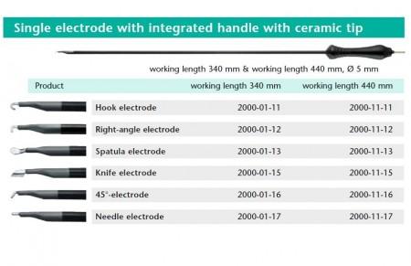 Electrod monopolar cu varf ceramic 340 mm, 5 mm, maner integrat tip Hook / tip L / tip spatula