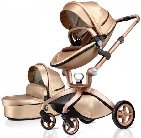 Carucior Copii Hot Mom Premium Champagne 2 in 1, varsta intre 0 - 36 luni, elegant, confortabil, sigur si usor de folosit