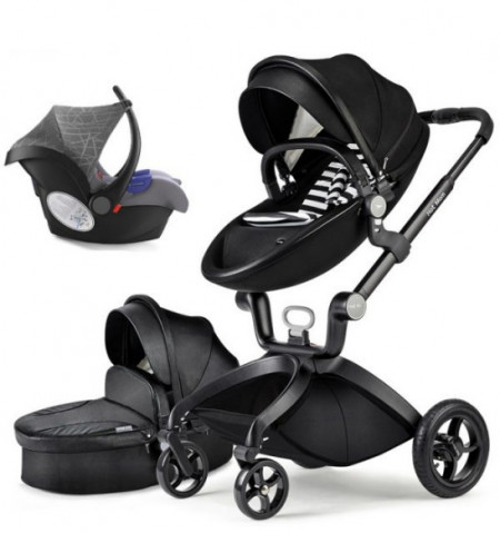 Carucior Copii Hot Mom Premium 3 in 1 Negru, varsta intre 0 si 3 ani, Piele Ecologica