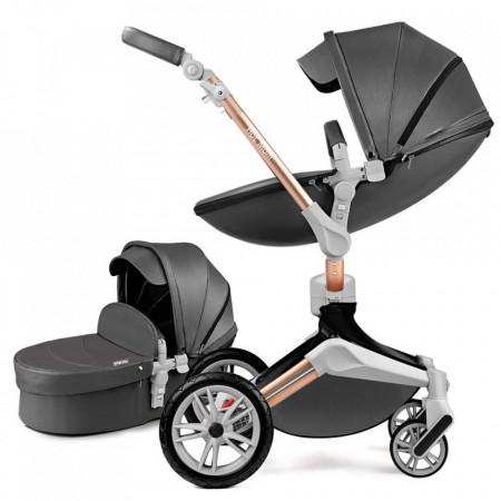 Carucior Copii Hot Mom 360 Dark Grey 2 in 1, varsta intre 0 si 36 de luni, landou spatios, modul sport