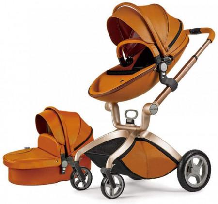Carucior Copii Hot Mom Premium 2 in 1 Brown, varsta intre 0 si 36 de luni, sigur si usor de folosit