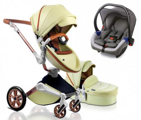 Carucior Hot Mom 360 Green 3 in 1 pentru copii intre 0 - 36 luni, cu un design modern cu cadru din aluminiu si pernita din spuma ergonomica Eva