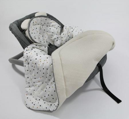 Tiny Star - Husa Pentru Scaun Auto Sweet Confetti & Beige, Paturica De Infasat, Cocon, Fixata Cu Sistem Velcro