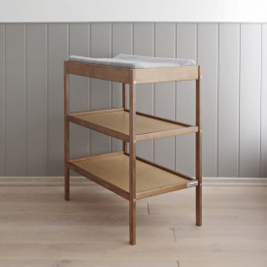 Woodies Changer Vintage - Masa de Schimbat Pentru Bebelusi Lemn Masiv, 76cm x 44cm x 86 cm, Cu 2 Rafturi De Depozitare Inalte