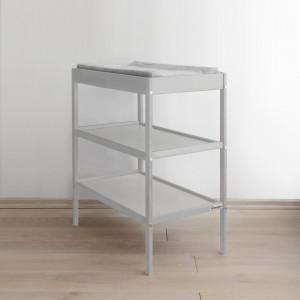 Woodies Changer Grey - Masa de Schimbat Pentru Bebelusi Lemn Masiv, 76cm x 44cm x 86 cm, Cu 2 Rafturi De Depozitare Inalte