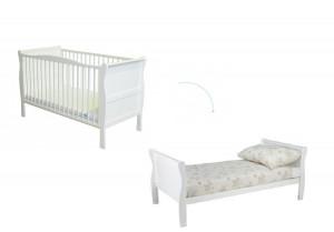 Woodies - Patut din lemn masiv 140x70 transformabil pentru bebe si junior Noble White