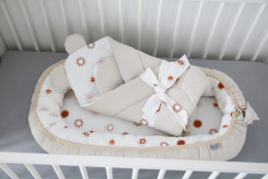 Babynest Tiny Star Sunshine&Beige, cuib pentru bebelusi, ajustabil, portabil, reductor patut