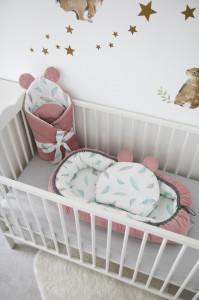 Babynest Velvet & Plumes, Cuib Pentru Bebelusi, Ajustabil, Portabil, Reductor Patut, Tiny Star