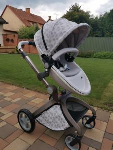 Carucior Copii Hot Mom Premium 2 in 1 Grey Leaves, varsta intre 0 si 36 de luni, elegant si confortabil