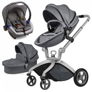 Carucior Copii Hot Mom Premium Dark Grey 3 in 1, varsta intre 0 - 36 luni, elegant, confortabil, sigur si usor de folosit
