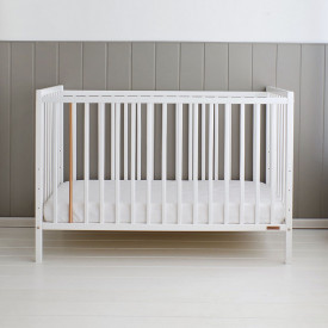 Woodies Stardust White - Patut Bebe Din Lemn Masiv, 120 cm x 60 cm, Design Impunator, Confortabil, Rezistent