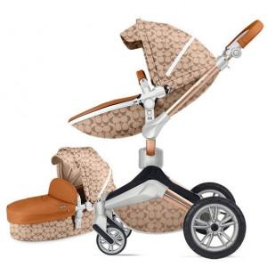 Carucior Copii Hot Mom 360 Light Brown 2 in 1, varsta intre 0 si 3 ani, Cadru, Landou, Modul Sport si Accesorii