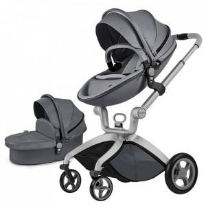 Carucior Copii Hot Mom Premium Dark Grey 2 in 1, varsta intre 0 - 36 luni, elegant, confortabil, sigur si usor de folosit