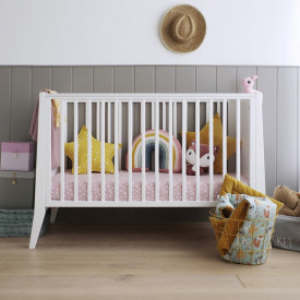 Woodies Safe Dreams - Patut Bebe Din Lemn Masiv, Slim Alb, 120 X 60 CM