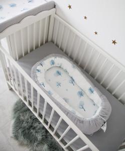 Babynest Tiny Star Magic&Grey, cuib pentru bebelusi, ajustabil, portabil, reductor patut