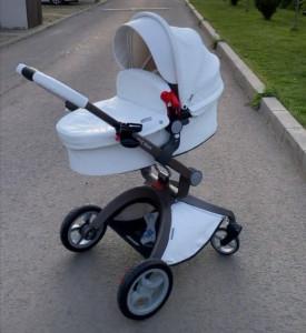 Carucior Copii Hot Mom Premium 2 in 1 Alb, varsta intre 0 si 36 luni, compus din Cadru, Landou si Modul Sport