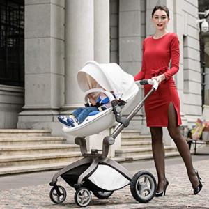 Carucior Copii Hot Mom Premium 2 in 1 Alb, varsta intre 0 si 36 luni, compus din Cadru, Landou si Modul Sport, Pernita Albastra