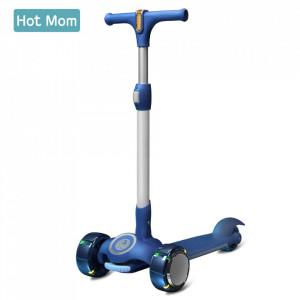Hot Mom Wind Rider Blue - Trotineta Pentru Copii 2 - 9 ani, Structura Robusta, Ghidon Flexibil, Usor de Manevrat, Pana la 50 kg