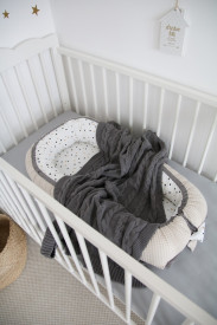 Babynest Tiny Star Confetti & Beige, cuib pentru bebelusi, ajustabil, portabil, reductor patut