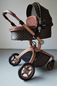 Carucior Copii Hot Mom Premium Coffee Star 3 in 1, varsta intre 0 - 36 luni, design modern, cadru din aluminiu, pernita din spuma ergonomica