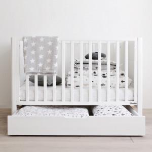 Woodies Safe Dreams - Sertar Depozitare cu Capac Pentru Patut Smoth 120 × 60 cm, Alb