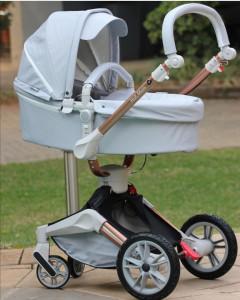 Carucior Copii Hot Mom 360 Gri 2 in 1, varsta 0 si 3 ani, Cadru, Landou, Modul Sport si Accesorii