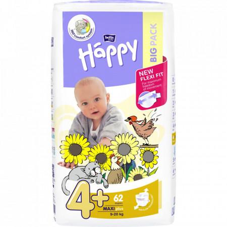 Poze Scutece Happy Maxi Plus 4+, 9-20 kg, 62 buc