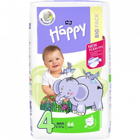 Poze Scutece Happy Maxi 4, 8-18 kg, 66 buc