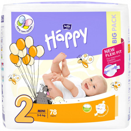Poze Scutece Happy Mini 2 Big Pack, 3-6 kg, 78 buc
