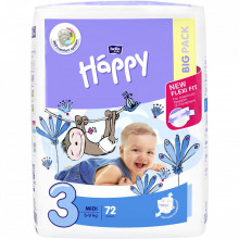 Scutece Happy Midi 3, 5-9 kg Big Pack, 72 buc