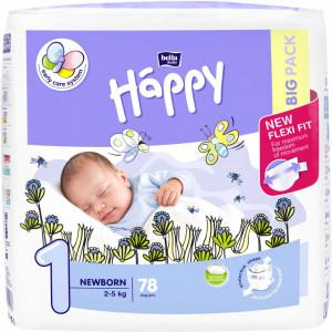 Scutece Happy Newborn, 2-5 kg, 78 buc