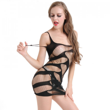Baby Doll Lingerie Fishnet Mini Dress Chemise Free Size - Imported from USA