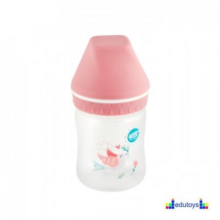 Plastična flašica USPAVANA ŠUMA sa širokim grlom pink 125 ML silikon