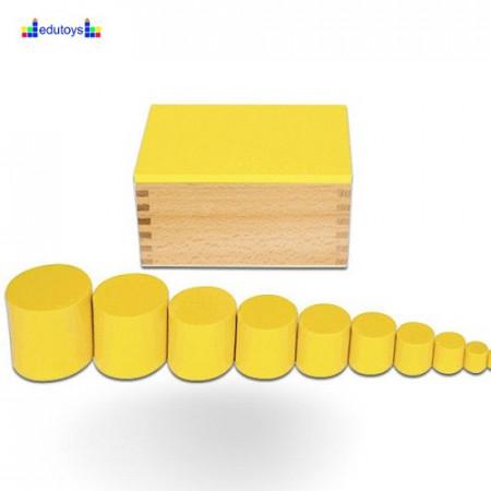 Montesori Kutije sa cilindrom žuta 2 kriterijuma