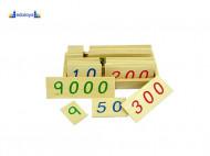 Montesori Drvene numeričke pločice 1-9000 manje sa drvenom kutijom