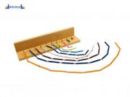 Montesori Šareni lančići za računanje i drveno postolje sa kukama 1 - 10