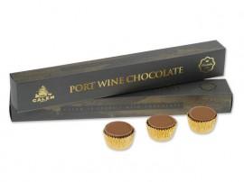 Caixa com Garrafa Vinho Porto Calém 10 Anos + 2 Caixas de Chocolate com Vinho do Porto