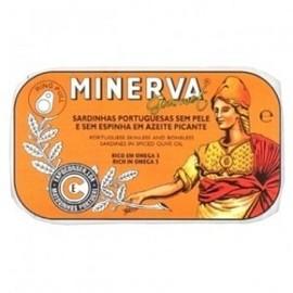 Imagens Sardinhas Minerva sem Pele sem Espinhas Azeite Picante 120g