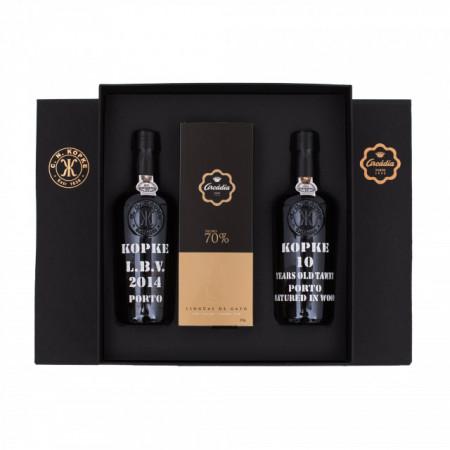 Arcádia Box 2 Port Wine Kopke + 1 Box of Dark Chocolates